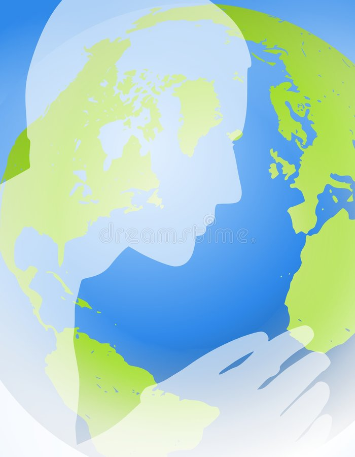 Man Praying For the Earth. An illustration featuring the silhouette of a person in white opacity set against a map of the world in basic green and blue colours royalty free illustration