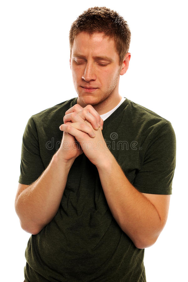 Download Man Praying With Hands Closed Stock Image - Image of student, caucasian: 25149609