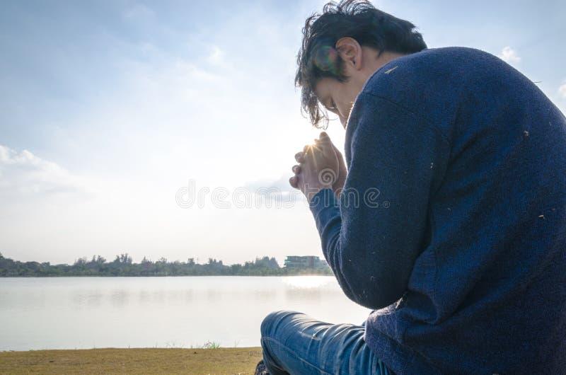 Man praying. royalty free stock photography