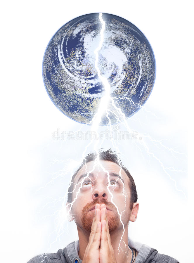 Man praying and looking up the earth royalty free stock image