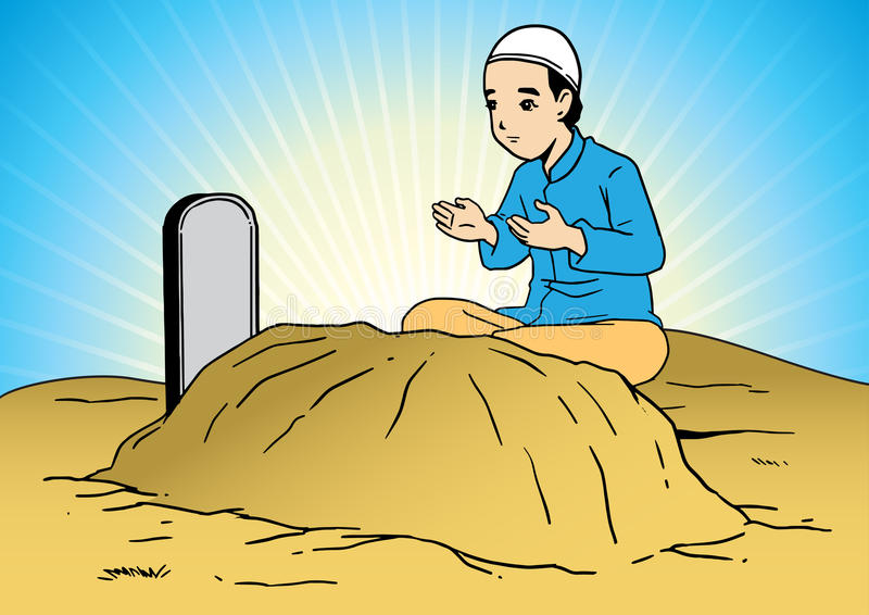 A man praying at the tomb. An asian muslim man praying for the loved one at cemetery stock illustration