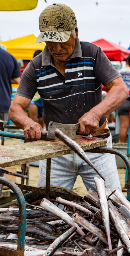 Man prepares freshly caught fish for market royalty free stock photo