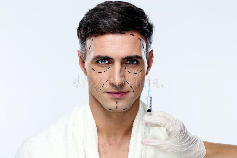 Man preparing for plastic surgery royalty free stock images
