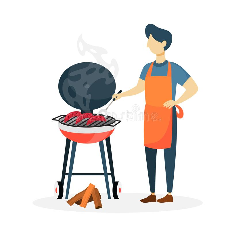 Man with bbq. Man preparing sausages bbq on white background royalty free illustration