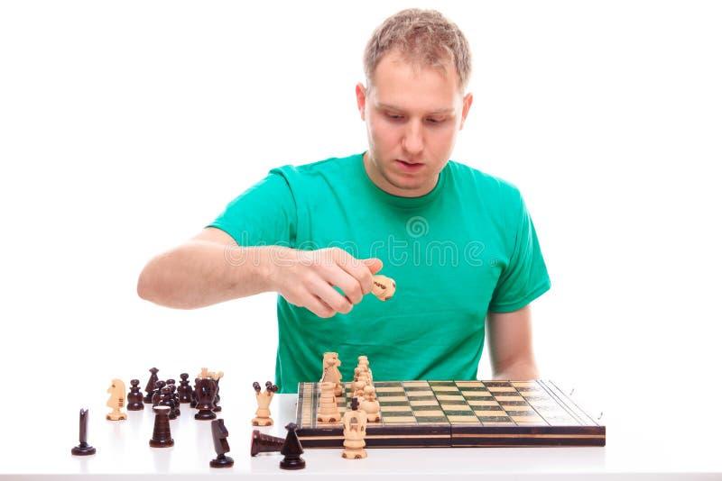 Man preparing to play chess royalty free stock photos