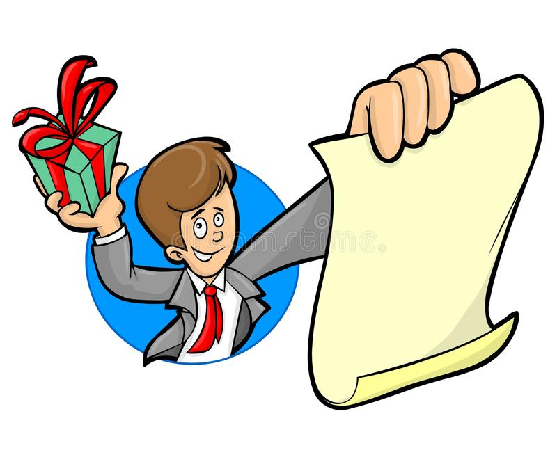 A man with a present and message. A man in a suit holding a wrapped present and a blank piece of paper suitable for your message vector illustration
