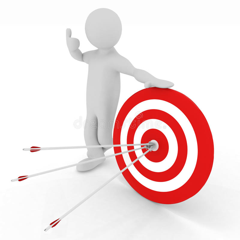 Free Man Presenting Center Of The Red Target Stock Image - 30690221