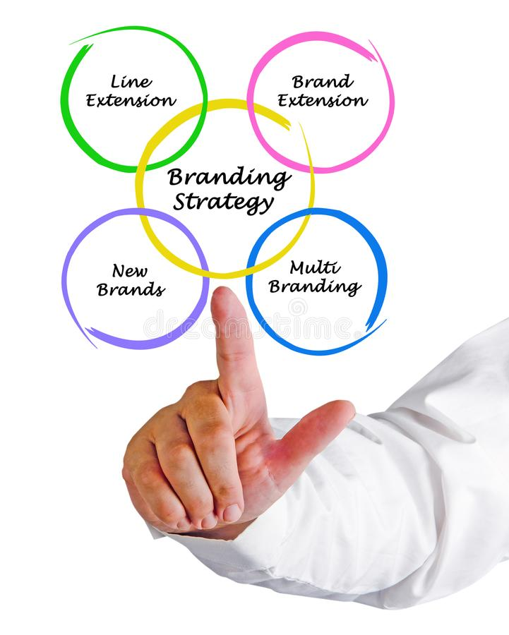 Branding Strategy. Man presenting components of Branding Strategy stock photo