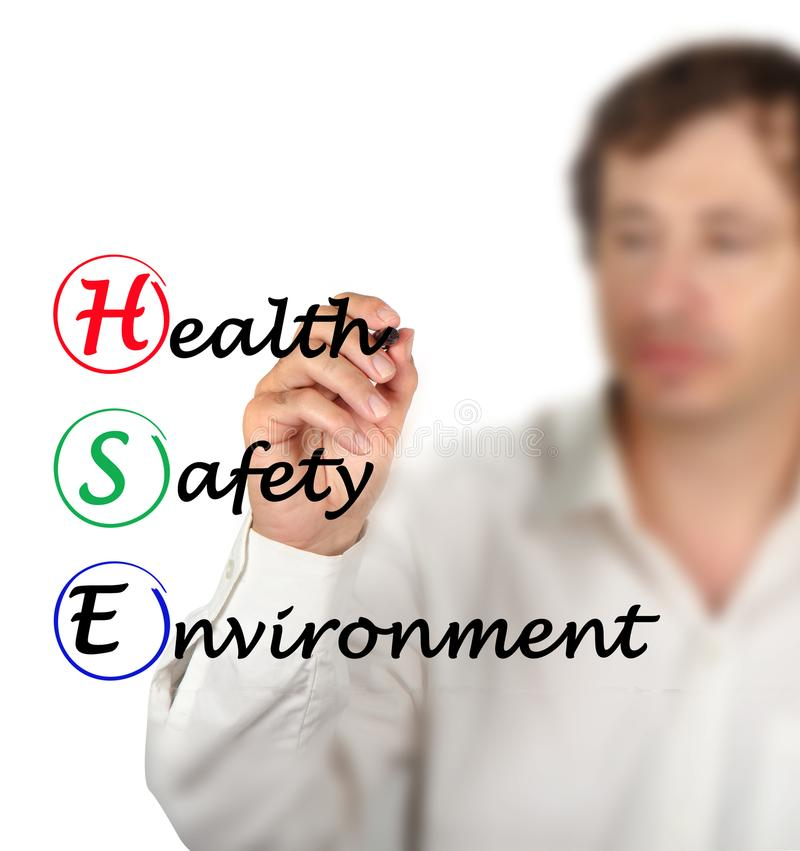 Health Safety Environment. Man presenting Health Safety Environment royalty free stock image