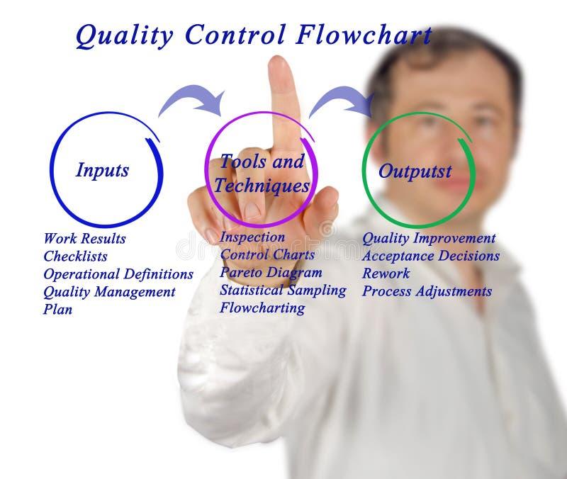 Quality control flowchart. Man presenting quality control flowchart stock images