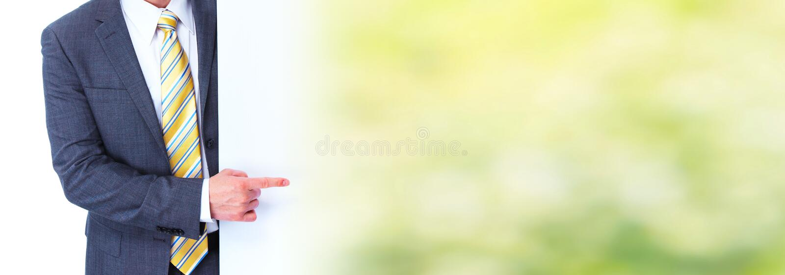 Man presenting space for message stock photo