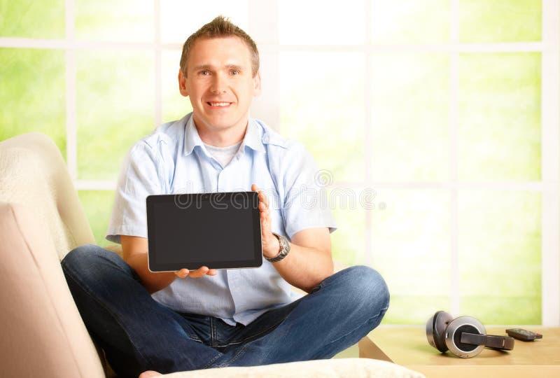 Man Presenting Tablet Stock Photo