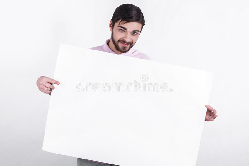 Man presents message to people royalty free stock photography