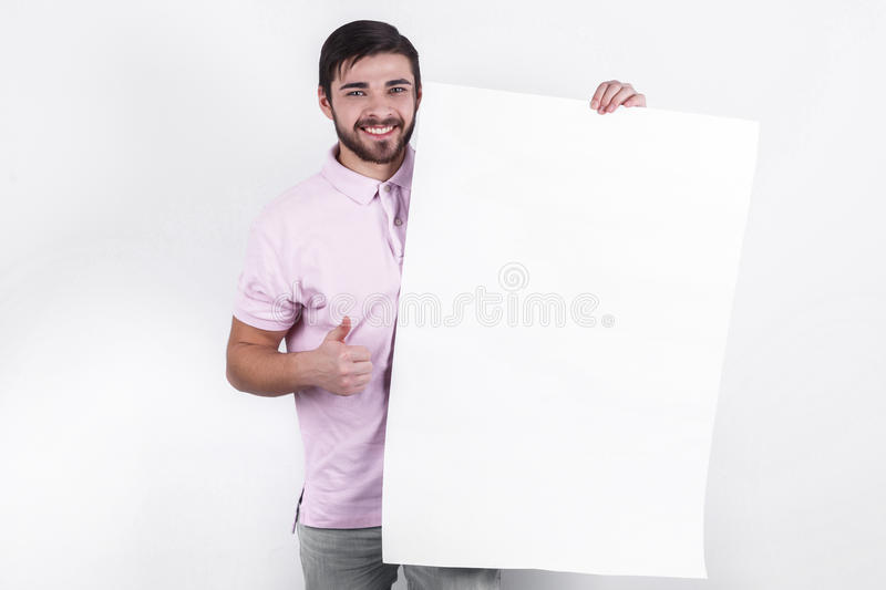 Man presents message to people stock photos