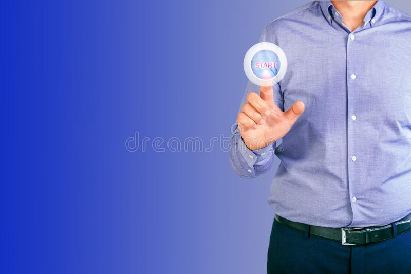 Man pressing business start-up button on virtual screens with copy space. stock images