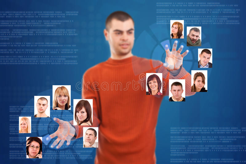 Man pressing digital button royalty free stock photos