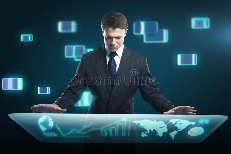 Man pressing high tech type of modern buttons royalty free stock image
