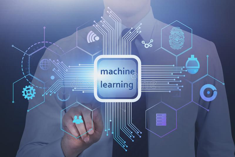 Man pressing machine learning button. Unrecognizable man in white shirt and tie pressing machine learning virtual button. Concept of innovation and AI. Toned royalty free stock photos