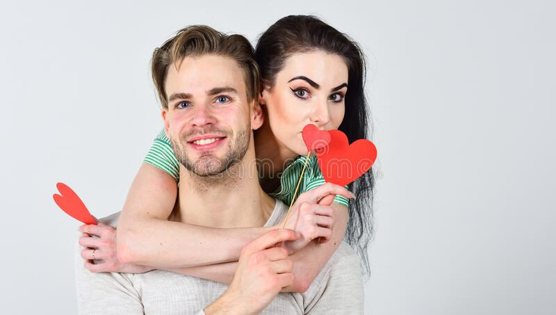 Man and pretty girl in love. Valentines day and love. Romantic ideas celebrate valentines day. Valentines day concept royalty free stock photos