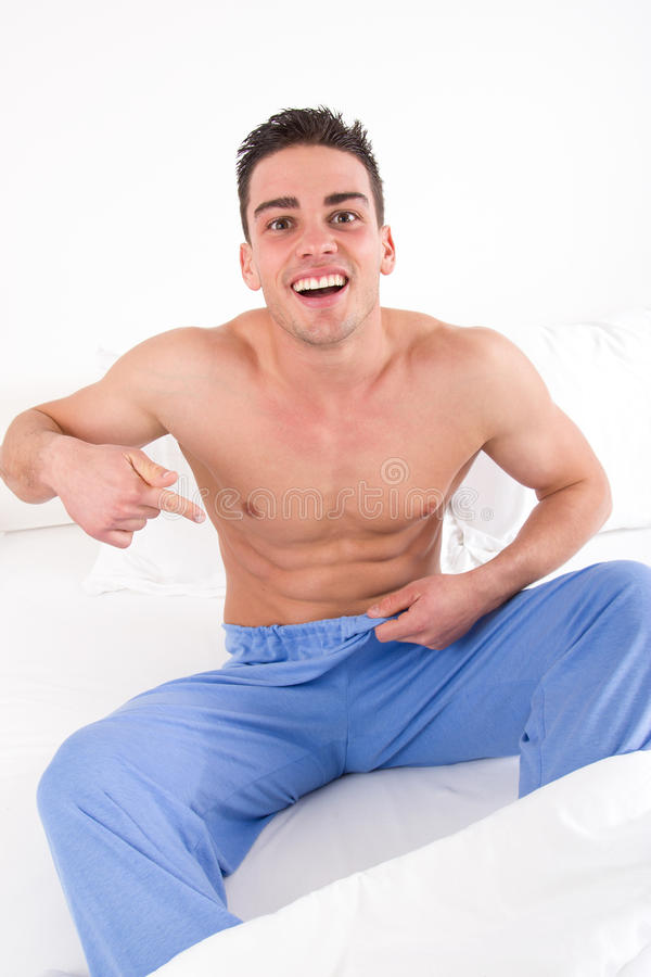 Man with problem in bedroom stock photos