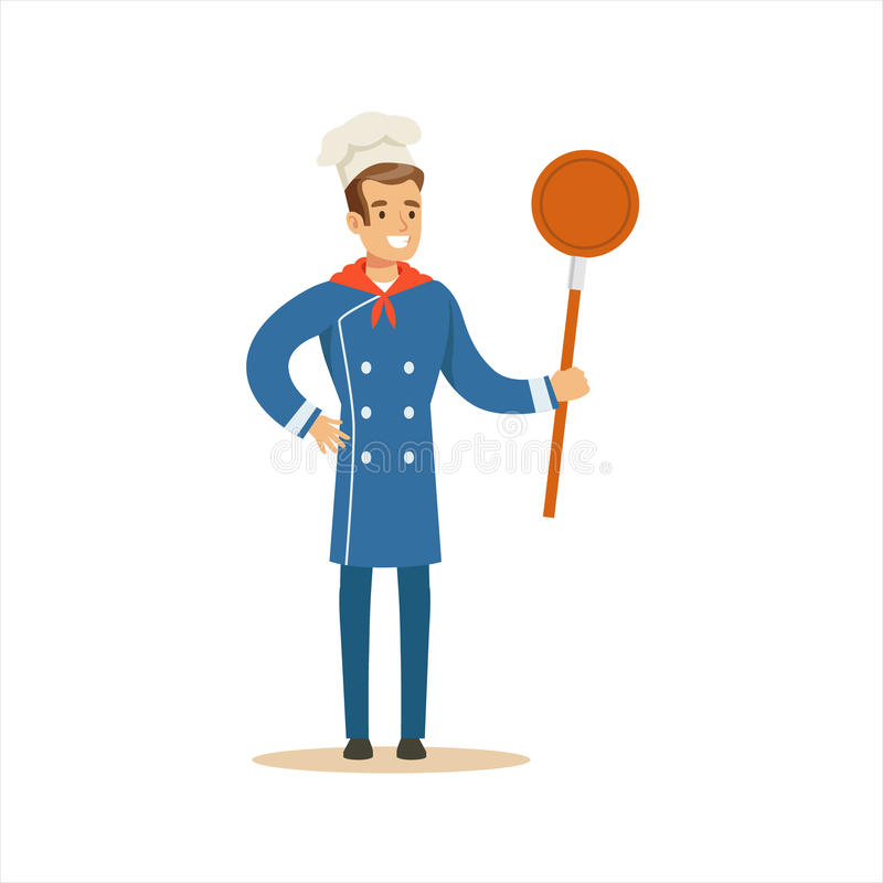 Man Professional Cooking Chef Working In Restaurant Wearing Classic Traditional Blue Uniform With Frying Pan Cartoon. Character Illustration stock illustration