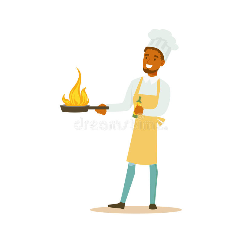 Man Professional Cooking Chef Working In Restaurant Wearing Classic Traditional Uniform With Burning Frying Pan Cartoon. Character Illustration royalty free illustration