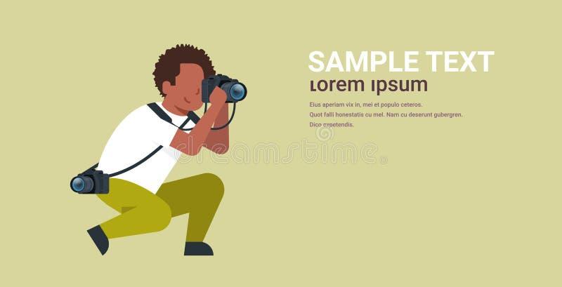 Man professional photographer taking photo african american guy journalists or paparazzi taking photos using dslr camera. Horizontal full length flat copy space stock illustration