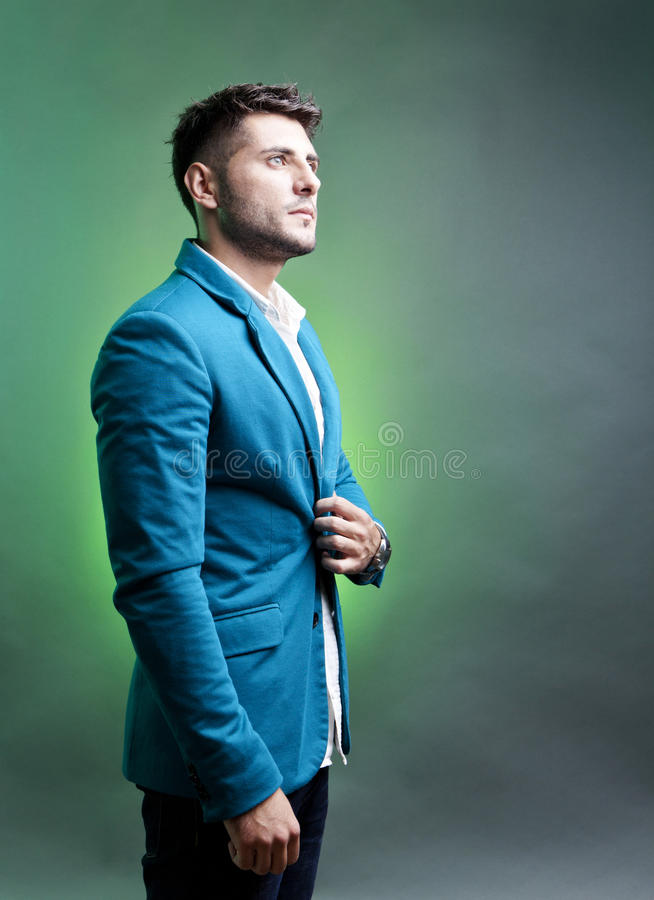 Man profile. Profile of young handsome man in studio portrait royalty free stock image