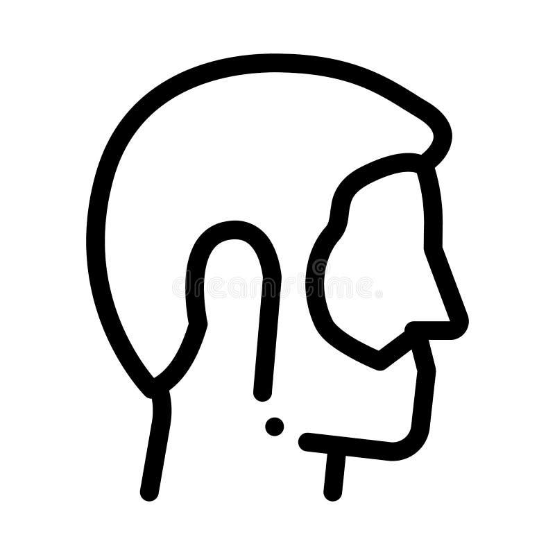 Man Profile With Beard Icon Outline Illustration royalty free illustration