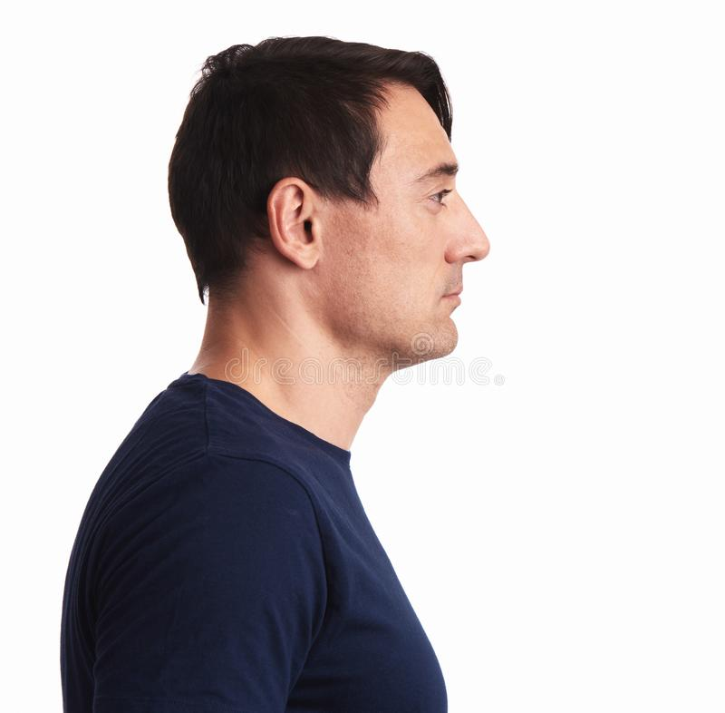 Man profile. handsome guy looking aside stock photos