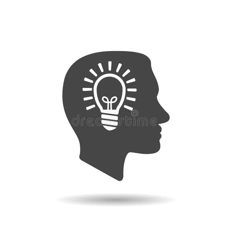 Man profile head view with light lamp bulb inside in trendy flat. Style isolated on white background stock illustration