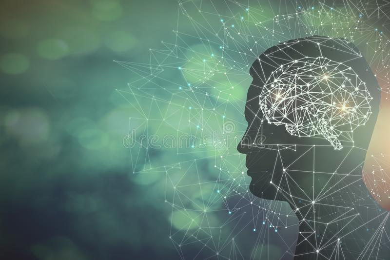 Artificial intelligence and science concept. Man profile silhouette with abstract polygonal brain on blurry background. Artificial intelligence and science royalty free illustration