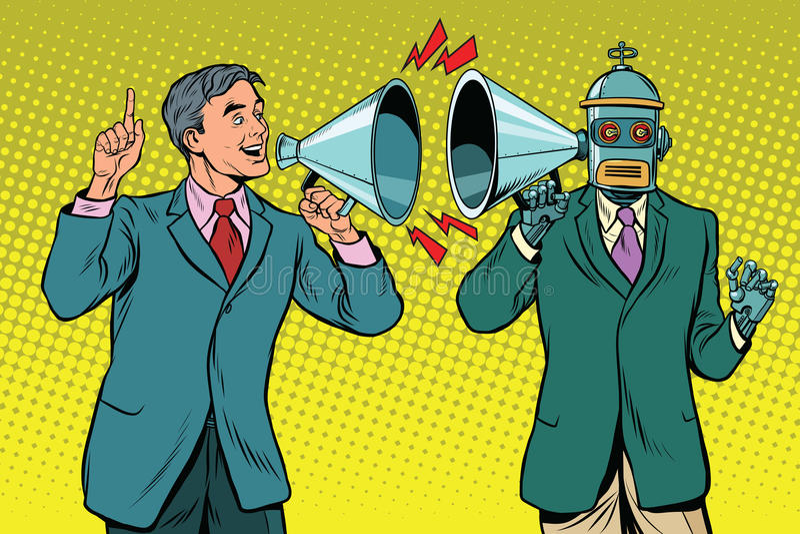 Man programs the computer. Vintage pop art retro illustration. The businessman says to the robot vector illustration