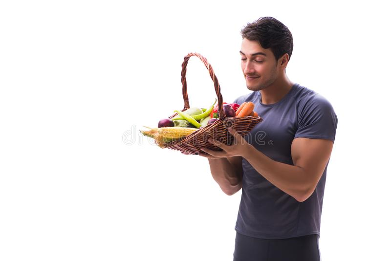 The man promoting the benefits of healthy eating and doing sports royalty free stock image