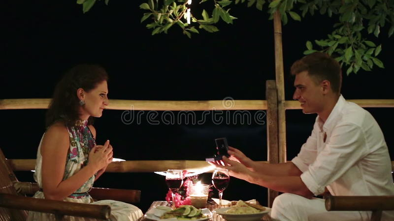 Man Proposes Marriage To The Girl Stock Footage Video Of Dinner