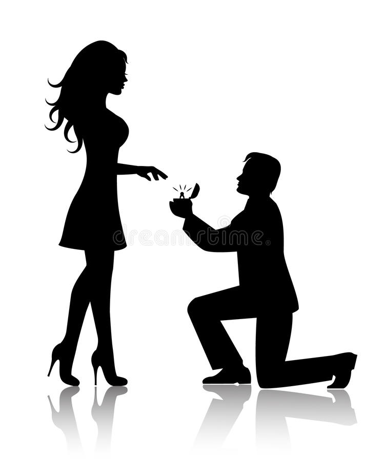 Man Proposes To The Woman To Marry Him Stock Vector