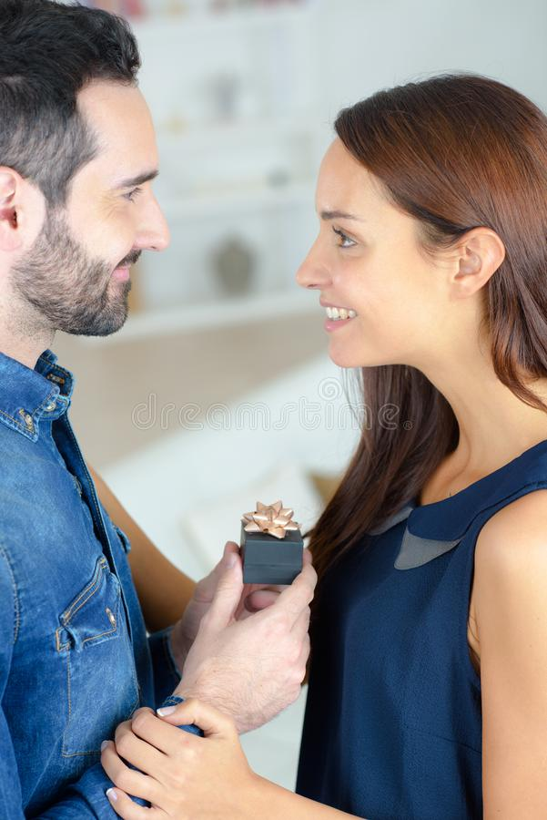Man proposing his fiancee royalty free stock images