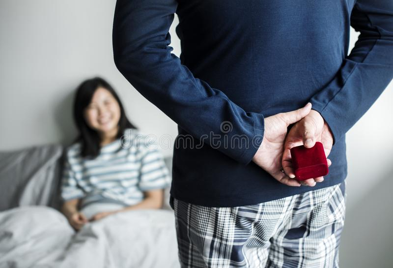 Man proposing to his girlfriend royalty free stock photos
