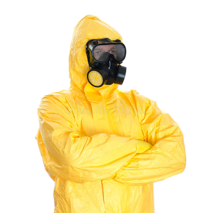 Man in protective hazmat suit. Isolated on white royalty free stock photos