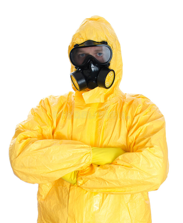 Man in protective hazmat suit. Isolated on white stock images