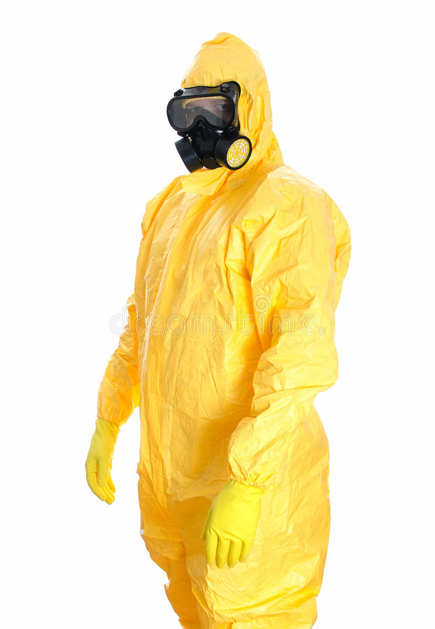 Man in protective hazmat suit. Isolated on white royalty free stock images