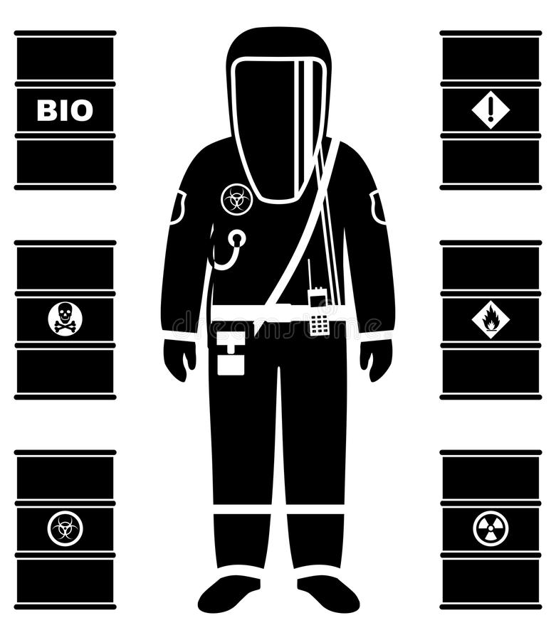 Industry concept. Black silhouette of worker in protective suit. Metal barrels for oil, biofuel, explosive, chemical. Man in protective suit in flat style stock illustration