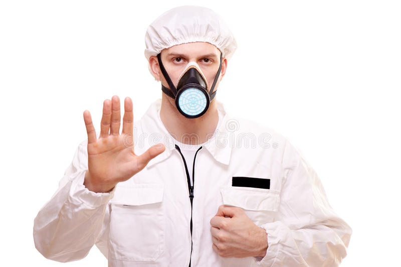 Man in protective wear. Portrait of a man in protective wear stock photography