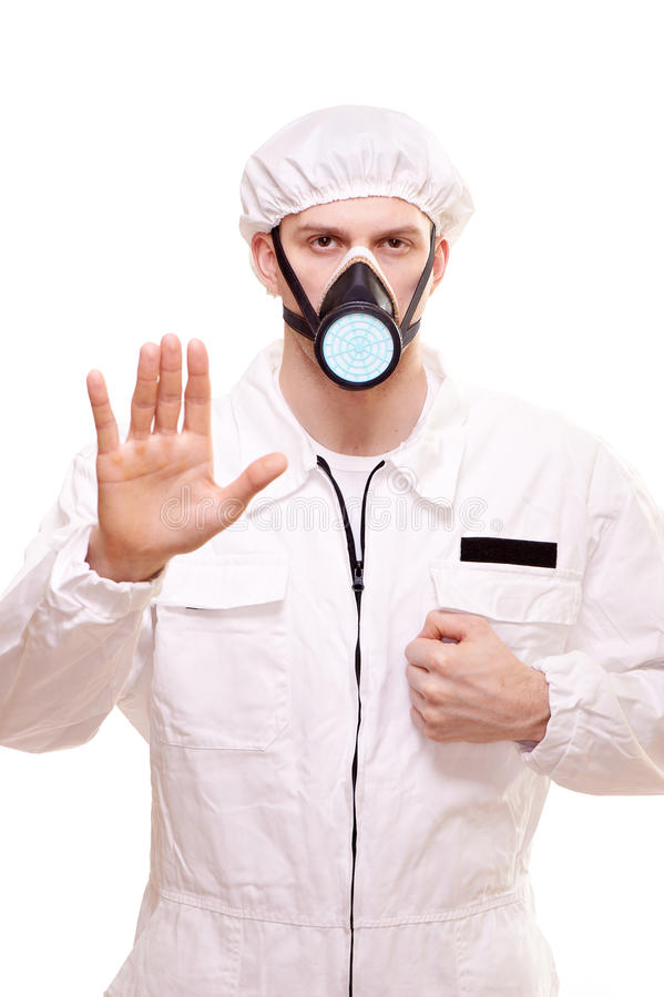 Man in protective wear. Portrait of a man in protective wear stock images