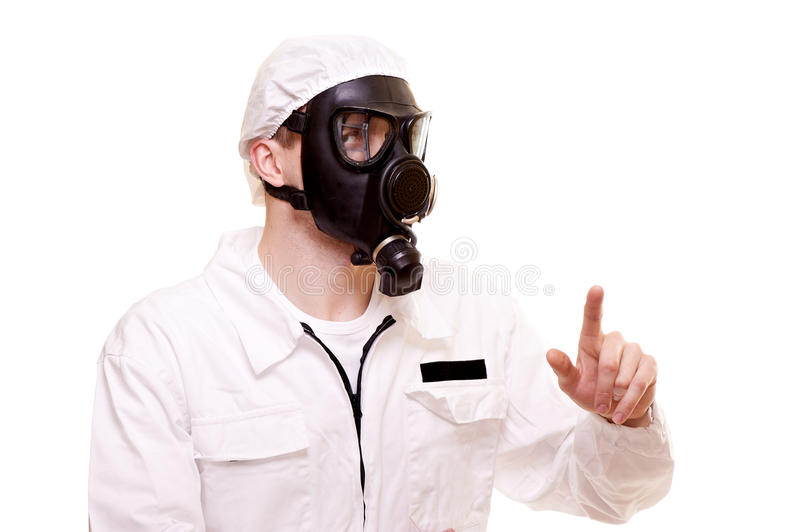 Man in protective wear. Portrait of a man in protective wear royalty free stock photos