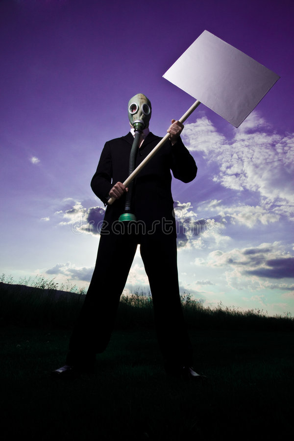 Download Man With Protest Sign & Mask Stock Photo - Image: 5406126