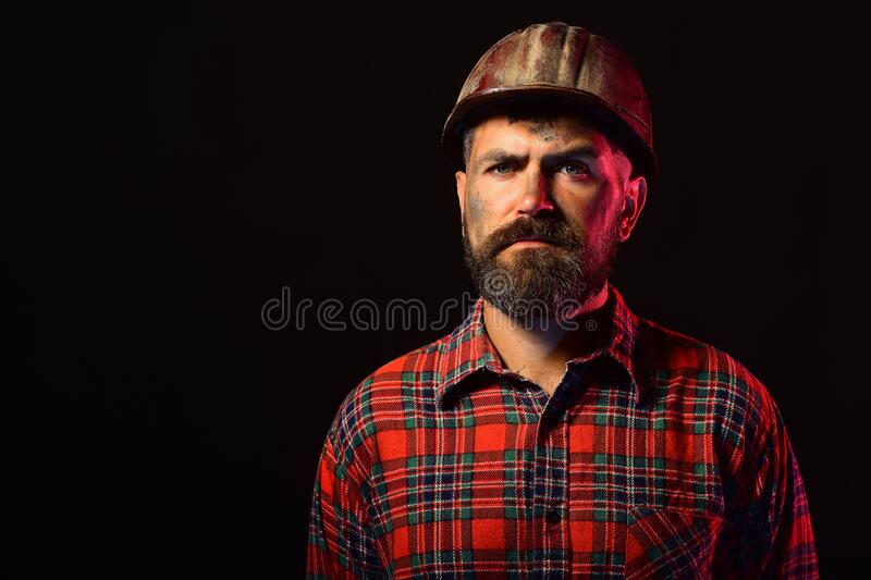 Man with proud face expression isolated on black background royalty free stock image