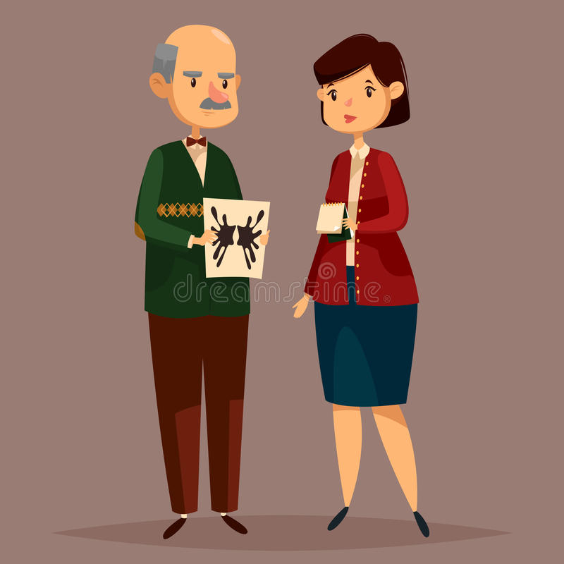 Man psychologist holding rorschach test and woman. Old psychologist with paper of Rorschach test on it and woman with notepad. Man worker of mental psychology royalty free illustration