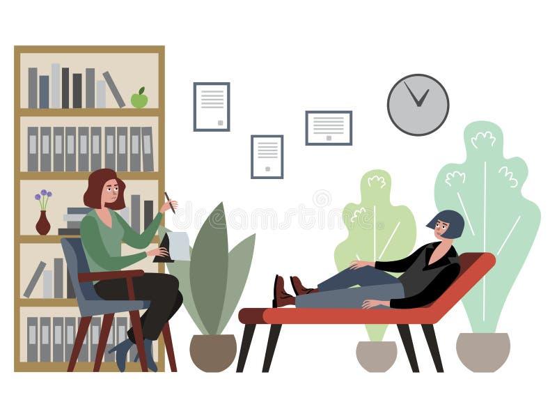 Man at psychotherapist office vector illustration. Flat style vector illustration