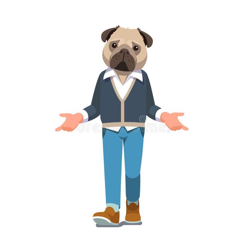 Man with pug dog head walking forward vector illustration